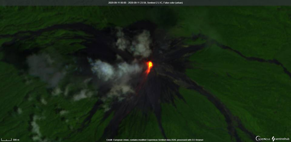 Incandescence and lava flow at Fuego volcano on 11 September visible from satellite (image: Sentinel 2)