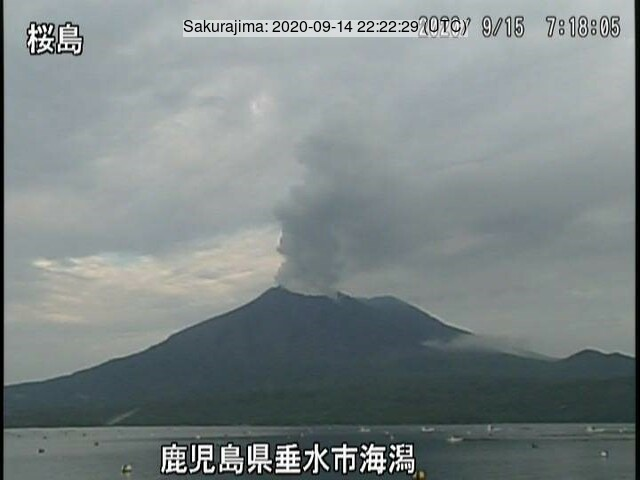 Gas, steam and ash content from Sakurajima volcano yesterday (image: JMA)