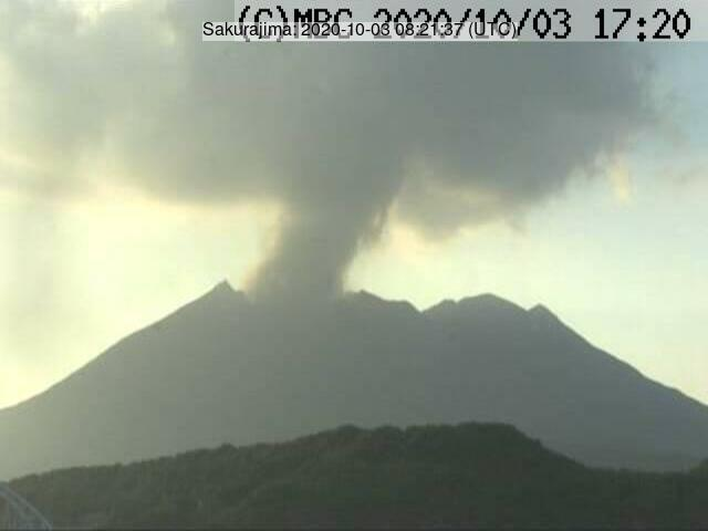 Eruption at Sakurajima volcano on 3 October (image: JMA)