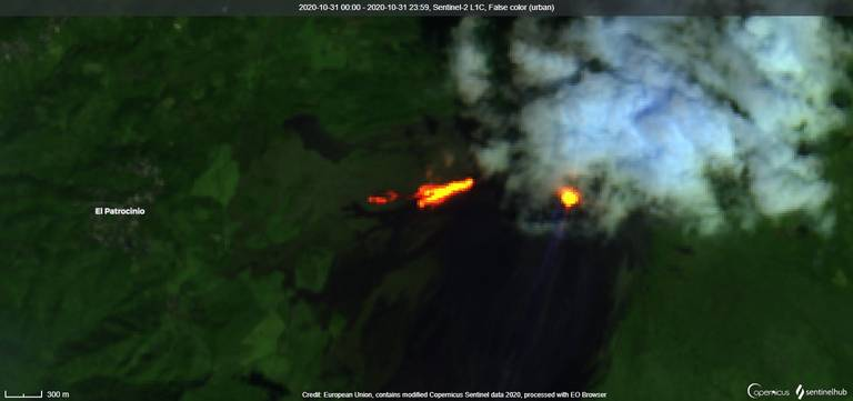 Eruptive fissure on the SW flank with two arms of lava flow at Pacaya volcano on 31 October (image: Sentinel 2)