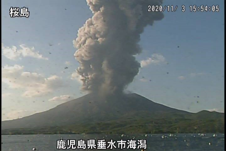 Explosive eruption at Sakurajima volcano yesterday (image: Sakurajima webcam)