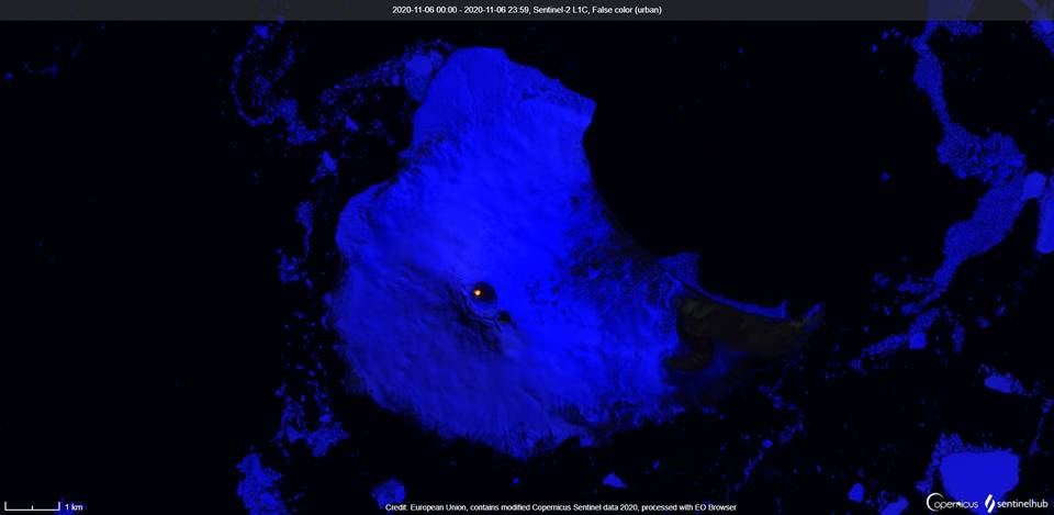 A thermal anomaly in the summit crater at Michael volcano visible from satellite on 6 November (image: Sentinel 2)