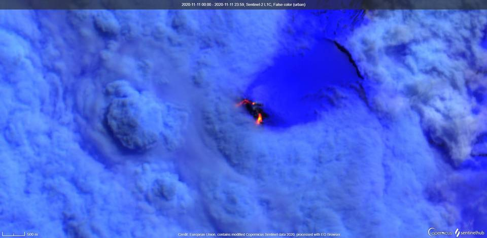 Two lava flows from Heard volcano visible from space (image: Sentinel 2)