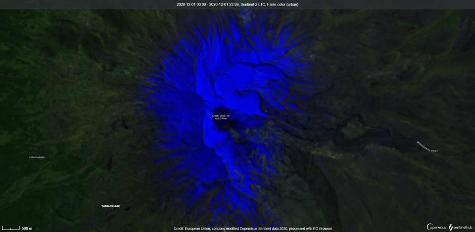 Satellite imagery of Ruapehu volcano (image: Sentinel 2)