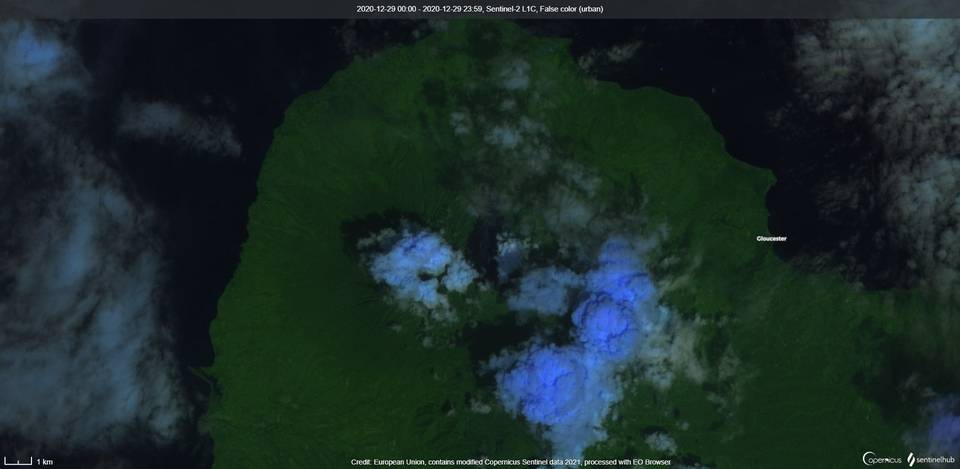 Langila volcano visible from space on 29 December last year (image:Sentinel 2)