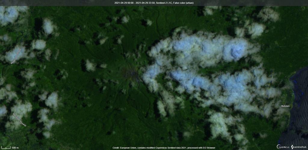 Satellite view of Bulusan volcano (image: Sentinel 2)