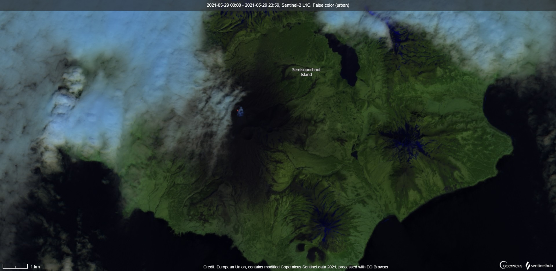 Elevated surface temperatures in the inner Cerberus crater (image: Sentinel 2)