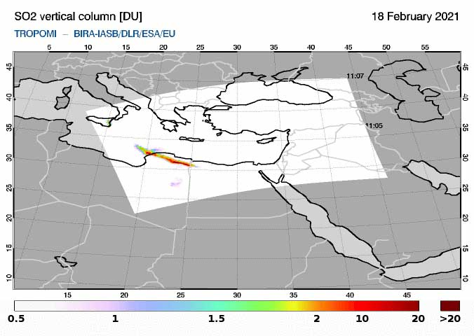 SO2 plume from yesterday's eruption (image: Royal Belgian Institute for Space Aeronom)