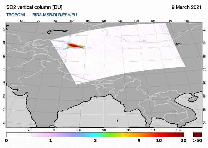 Detected SO2 cloud in the area of Kunlun volcano, NW Tibet (image: SACS)