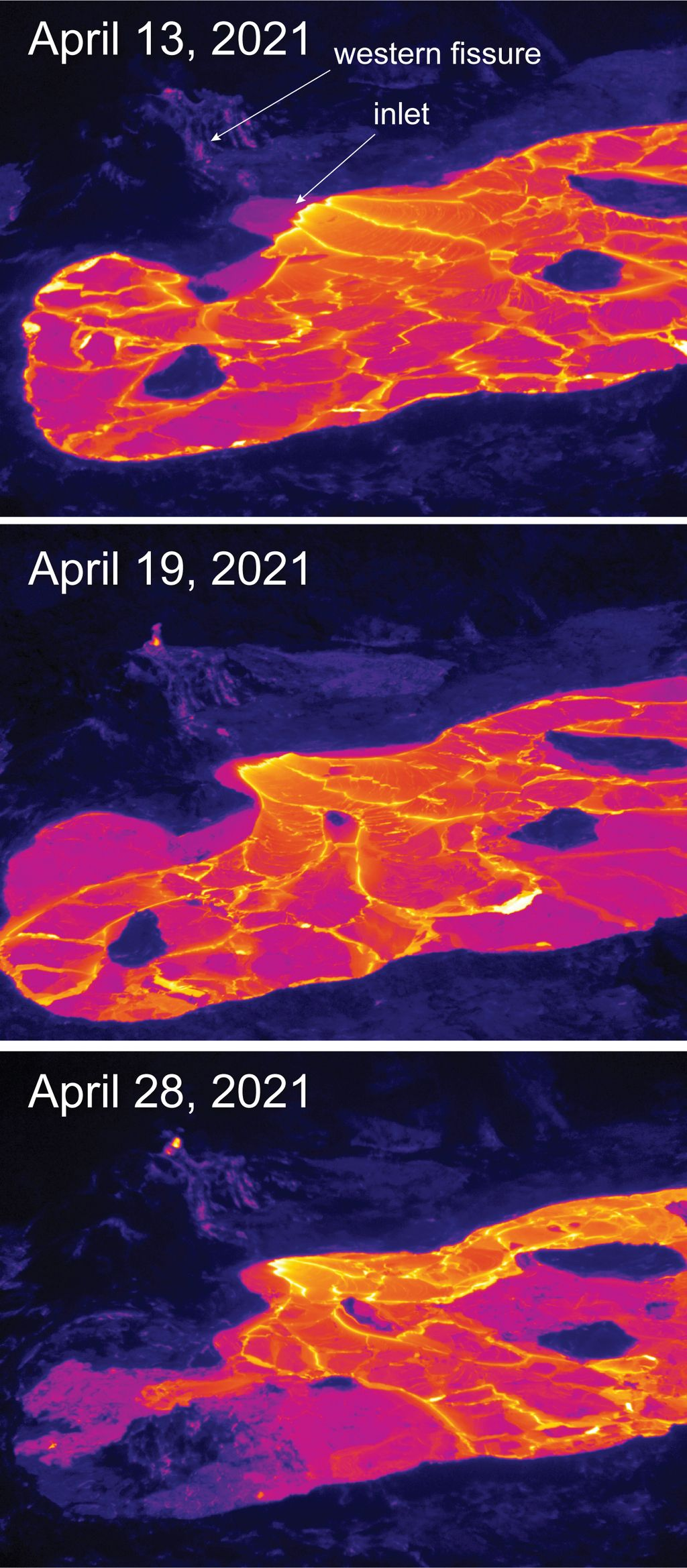 A thermal comparison of the active surface lava over the past two weeks. (Image: Matt Patrick, USGS-HVO)