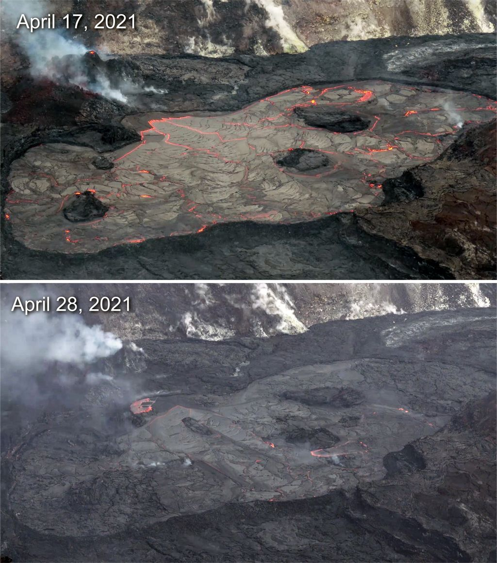 A visual comparison of the area of active surface lava over the past two weeks. (Image: Matt Patrick, USGS-HVO)