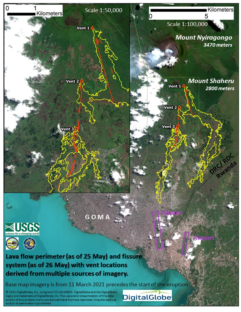 Vents and lava flows of the 22-23 May 2021 eruption of Nyiragongo (USGS)