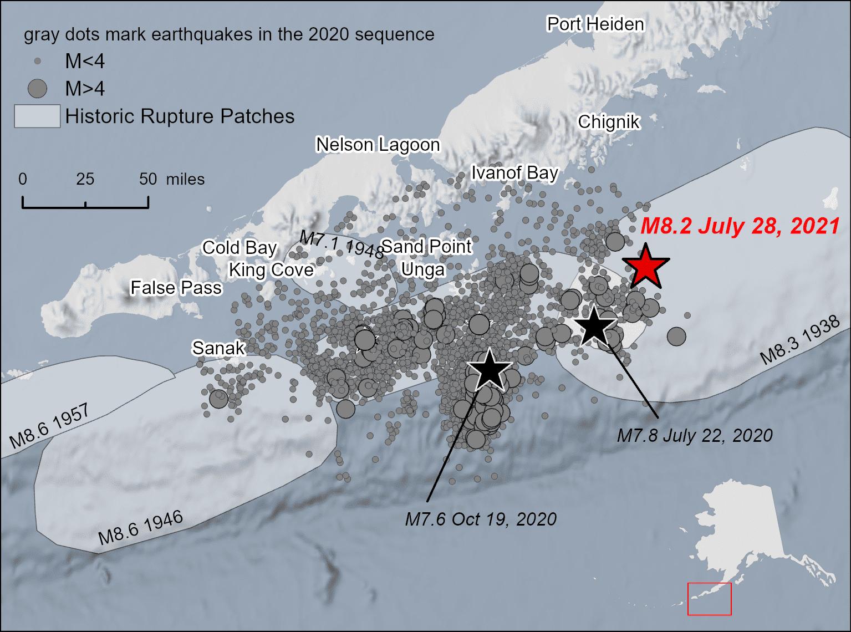 Mapa de la ubicación del terremoto de Chignik M8.2 en relación con la secuencia de réplicas del terremoto de Simeonof M7.8 2020 y los parches de ruptura de otros terremotos históricos (imagen: Alaska Earthquake Center)