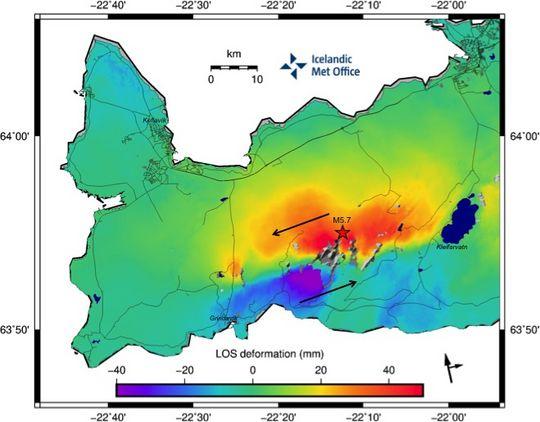 Mapa de Islandia que muestra movimientos y desintegración.  (Fuente: IMO)