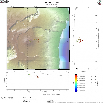 Earthquakes locations at Piton de la Fournaise volcano yesterday (image: OVPF)