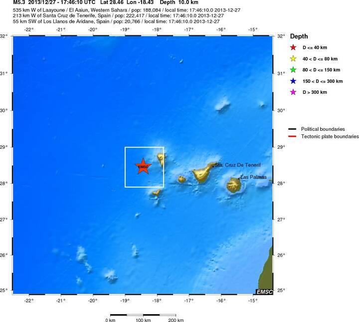 Location of earthquake (EMSC)