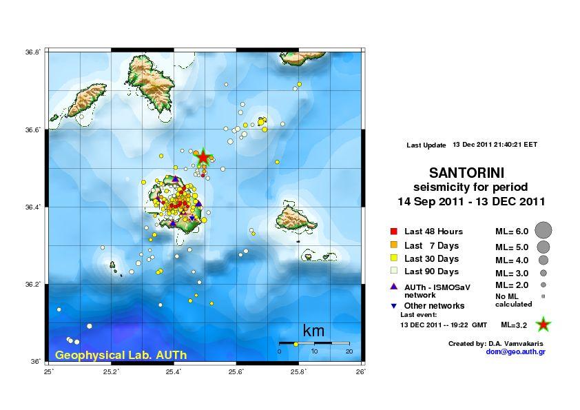 Map of recent earthquakes beneath Santorini, showing the 3.2 event at Kolumbos volcano NE of Santorini
