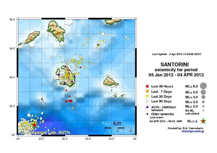 Earthquake activity at and near Santorini between 5 Jan and 4 April 2012