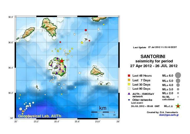 Map of earthquakes around Santorini (