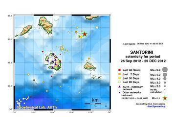Map of recent earthquakes around Santorini (Univ. Thessaloniki)