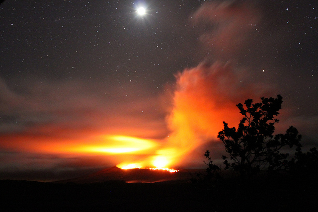The new lava flow west of Pu'u 'O'o seen from the Napau crater.