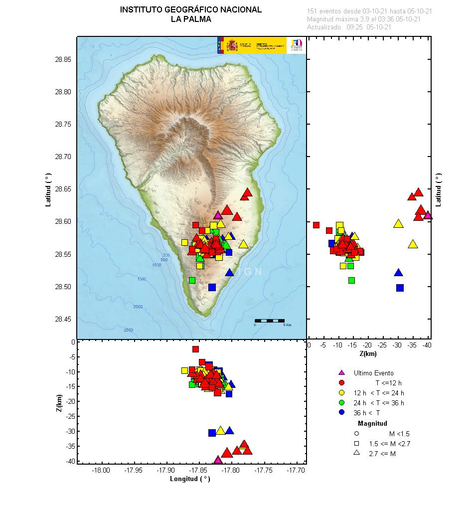 Earthquakes under La Palma during the past 3 days (image: IGN)