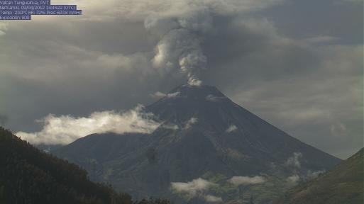 Ash emission from Tungurahua on 9 April (photo: IG)