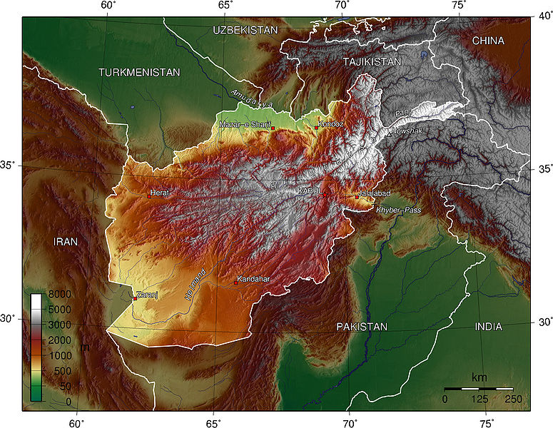 Afghanistan topography map