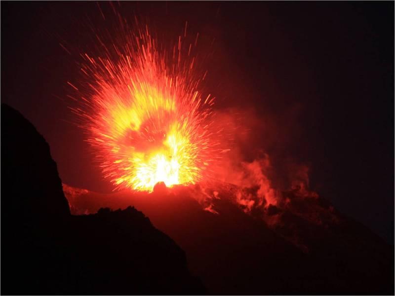 Stromboli volcano in eruption on 5 July 2012