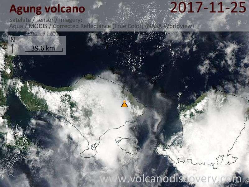 Satellite image of Agung volcano on 26 Nov 2017
