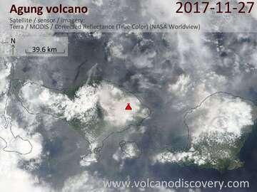 Satellite image of Agung volcano on 27 Nov 2017