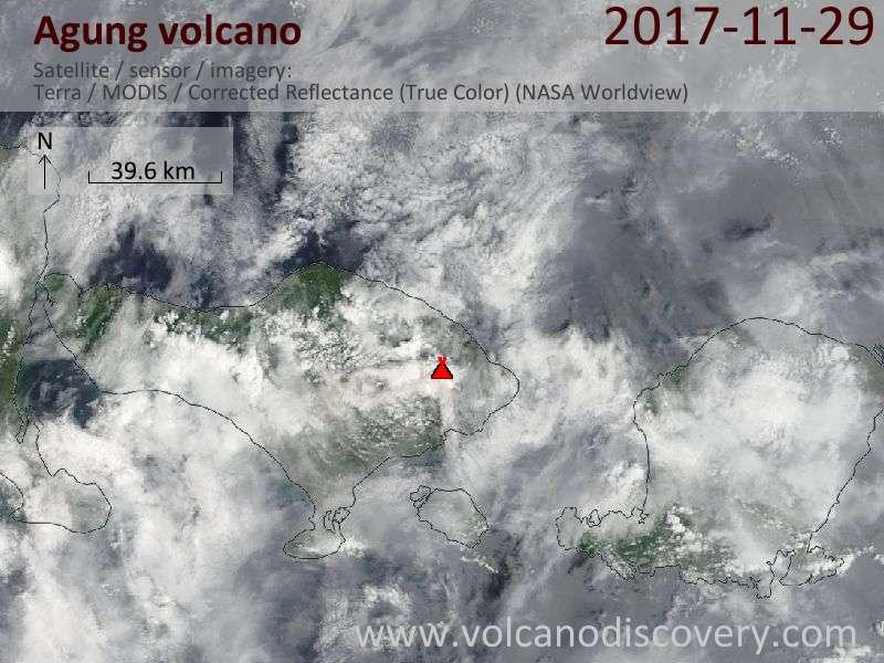 Satellite image of Agung volcano on 29 Nov 2017
