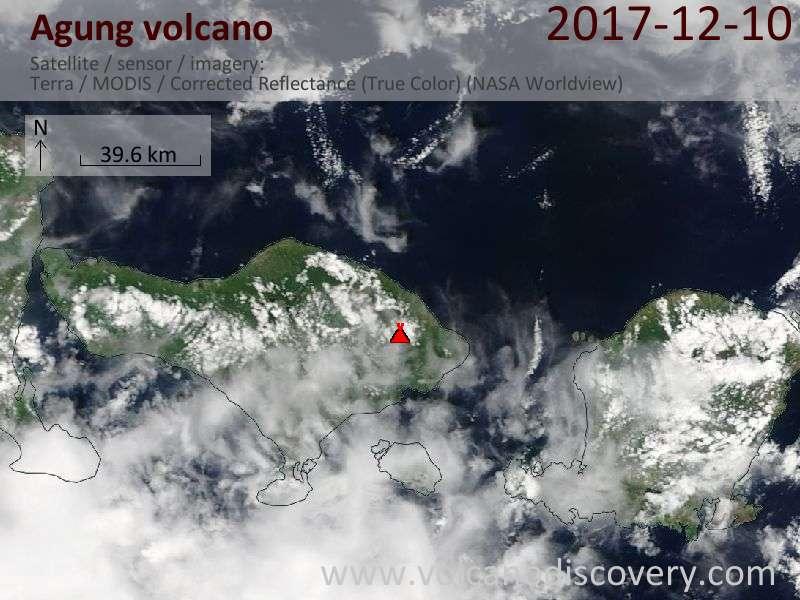 Satellite image of Agung volcano on 10 Dec 2017