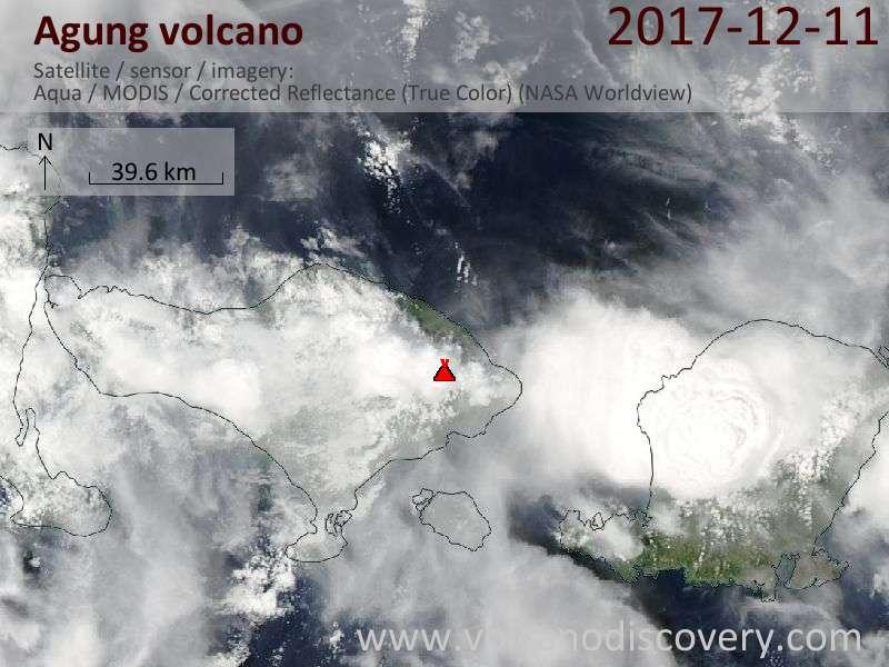 Satellite image of Agung volcano on 11 Dec 2017