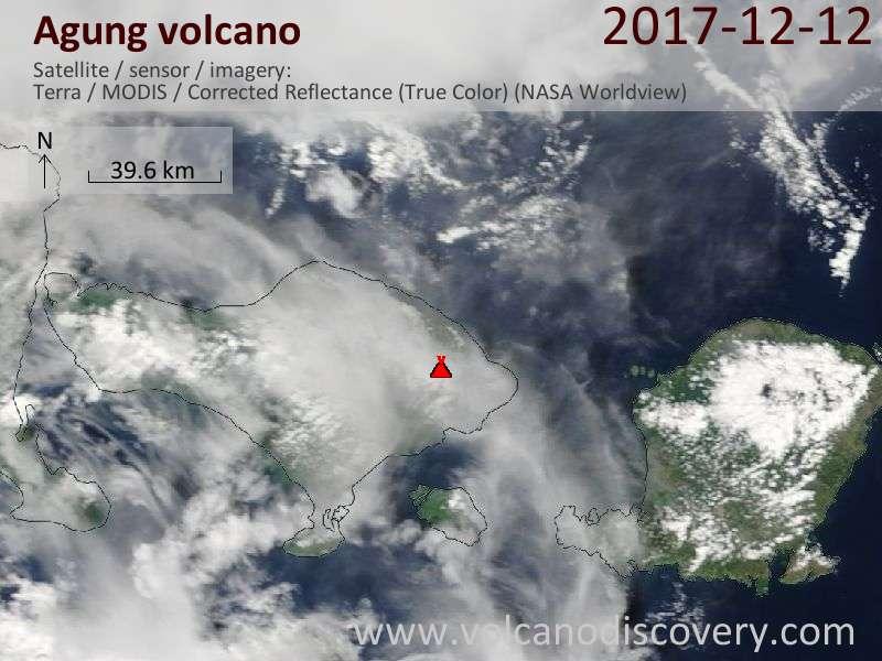 Satellite image of Agung volcano on 12 Dec 2017