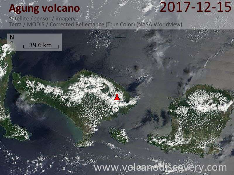Satellite image of Agung volcano on 15 Dec 2017