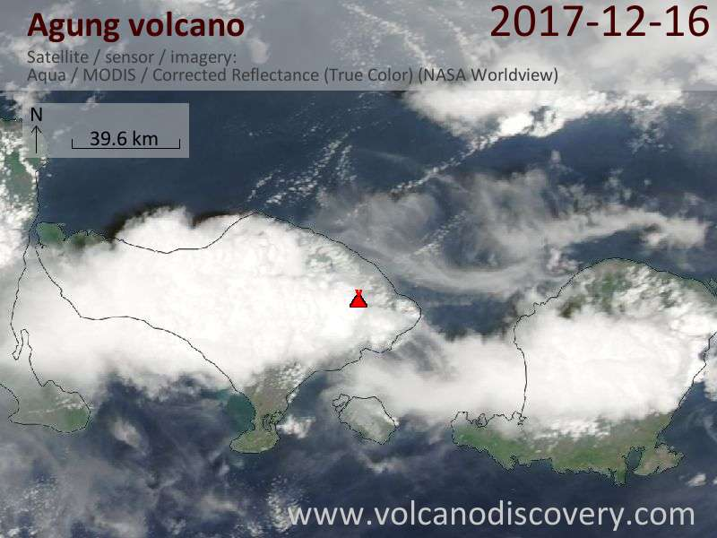 Satellite image of Agung volcano on 16 Dec 2017