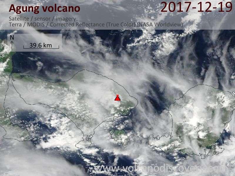 Satellite image of Agung volcano on 19 Dec 2017