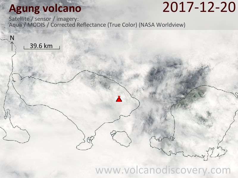 Satellite image of Agung volcano on 20 Dec 2017