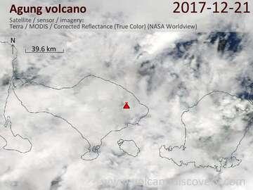 Satellite image of Agung volcano on 21 Dec 2017