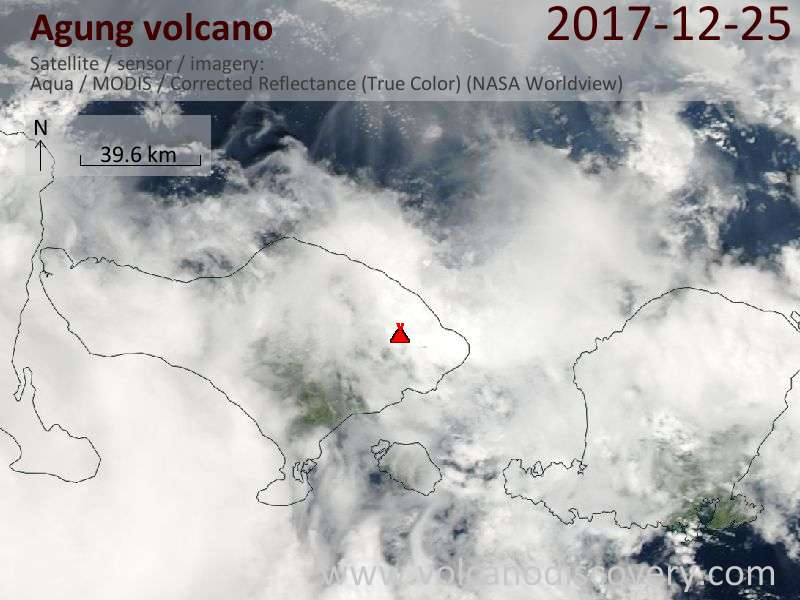 Satellite image of Agung volcano on 26 Dec 2017
