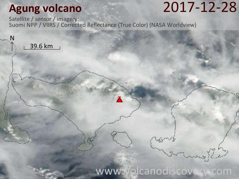 Satellite image of Agung volcano on 28 Dec 2017