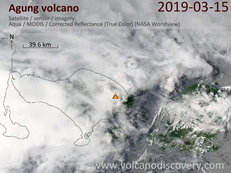 Satellite image of Agung volcano on 15 Mar 2019