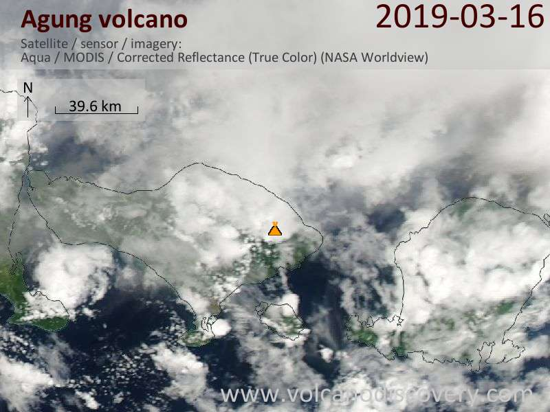 Satellite image of Agung volcano on 17 Mar 2019