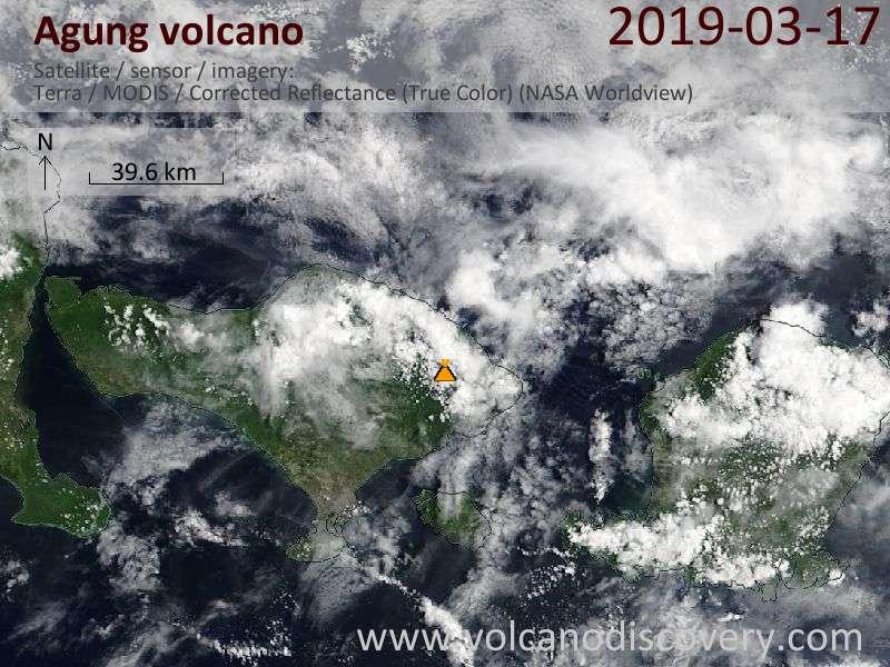 Спутниковое изображение вулкана Agung 18 Mar 2019