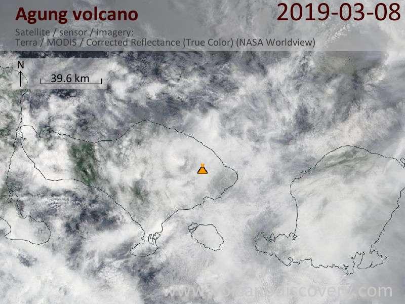 Satellite image of Agung volcano on  8 Mar 2019