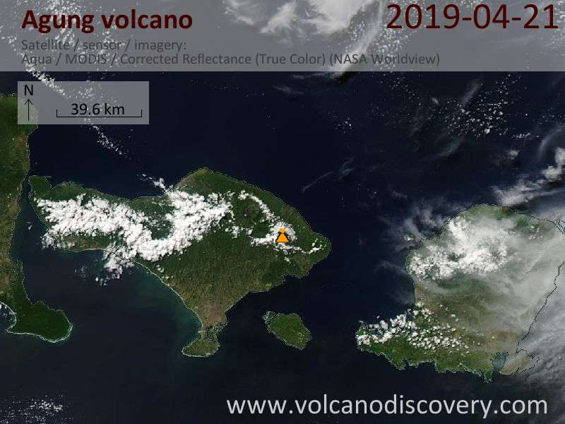 Satellitenbild des Agung Vulkans am 21 Apr 2019