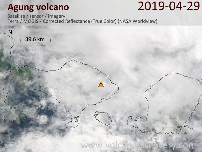 Satellite image of Agung volcano on 29 Apr 2019