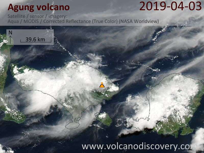 Satellite image of Agung volcano on  3 Apr 2019
