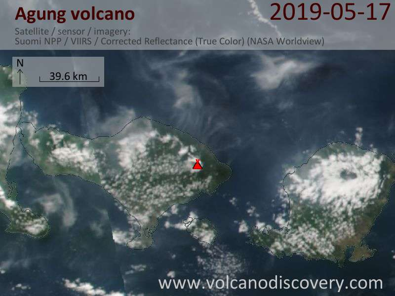 Satellite image of Agung volcano on 18 May 2019